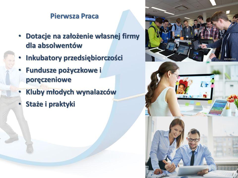 Pierwsza Praca Dotacje na założenie własnej firmy dla absolwentów Dotacje na założenie własnej firmy dla absolwentów Inkubatory przedsiębiorczości Inkubatory przedsiębiorczości Fundusze pożyczkowe i poręczeniowe Fundusze pożyczkowe i poręczeniowe Kluby młodych wynalazców Kluby młodych wynalazców Staże i praktyki Staże i praktyki