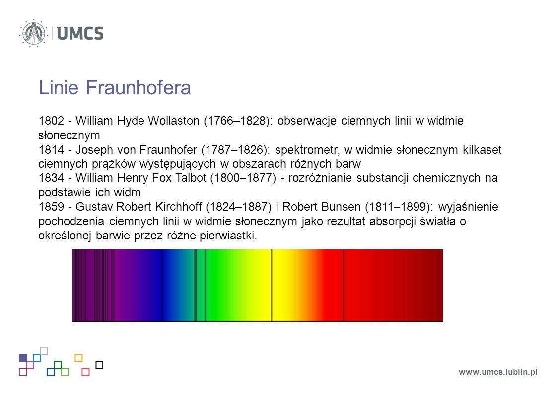Linie Fraunhofera 1802 - William Hyde Wollaston (1766–1828): obserwacje ciemnych linii w widmie słonecznym 1814 - Joseph von Fraunhofer (1787–1826): spektrometr, w widmie słonecznym kilkaset ciemnych prążków występujących w obszarach różnych barw 1834 - William Henry Fox Talbot (1800–1877) - rozróżnianie substancji chemicznych na podstawie ich widm 1859 - Gustav Robert Kirchhoff (1824–1887) i Robert Bunsen (1811–1899): wyjaśnienie pochodzenia ciemnych linii w widmie słonecznym jako rezultat absorpcji światła o określonej barwie przez różne pierwiastki.
