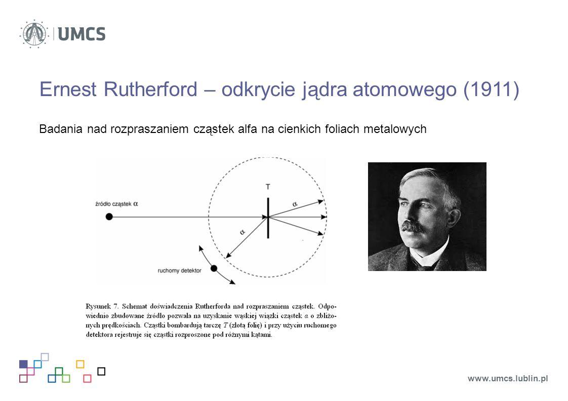 Ernest Rutherford – odkrycie jądra atomowego (1911) Badania nad rozpraszaniem cząstek alfa na cienkich foliach metalowych www.umcs.lublin.pl