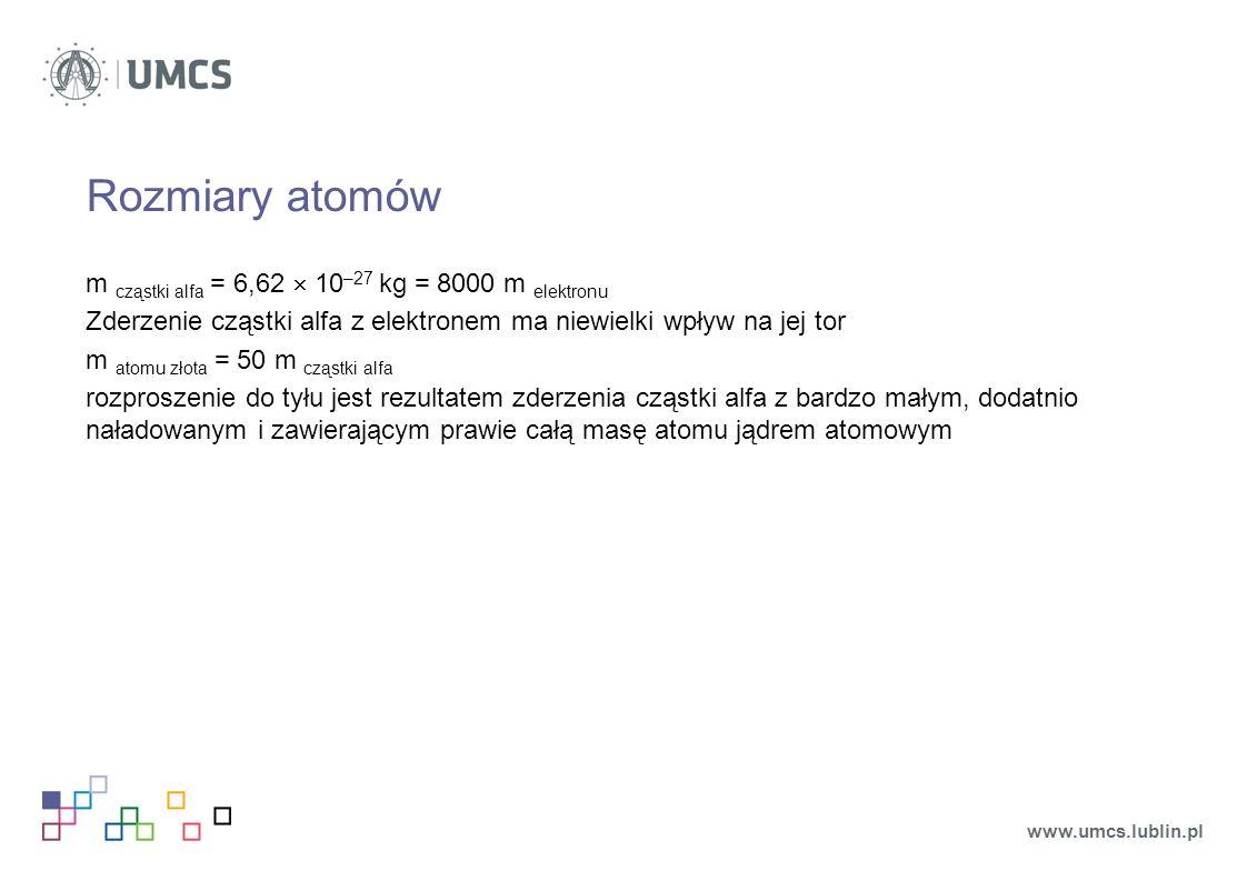 Rozmiary atomów m cząstki alfa = 6,62  10 –27 kg = 8000 m elektronu Zderzenie cząstki alfa z elektronem ma niewielki wpływ na jej tor m atomu złota = 50 m cząstki alfa rozproszenie do tyłu jest rezultatem zderzenia cząstki alfa z bardzo małym, dodatnio naładowanym i zawierającym prawie całą masę atomu jądrem atomowym www.umcs.lublin.pl