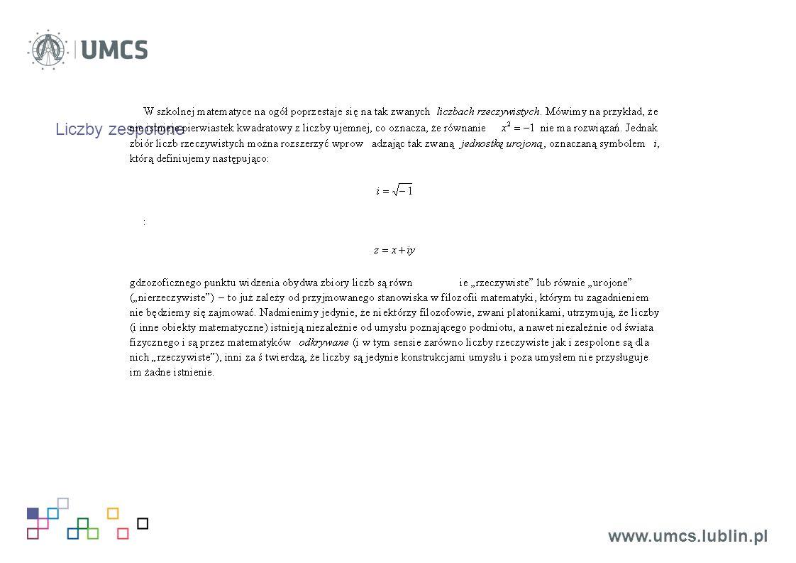 Liczby zespolone www.umcs.lublin.pl