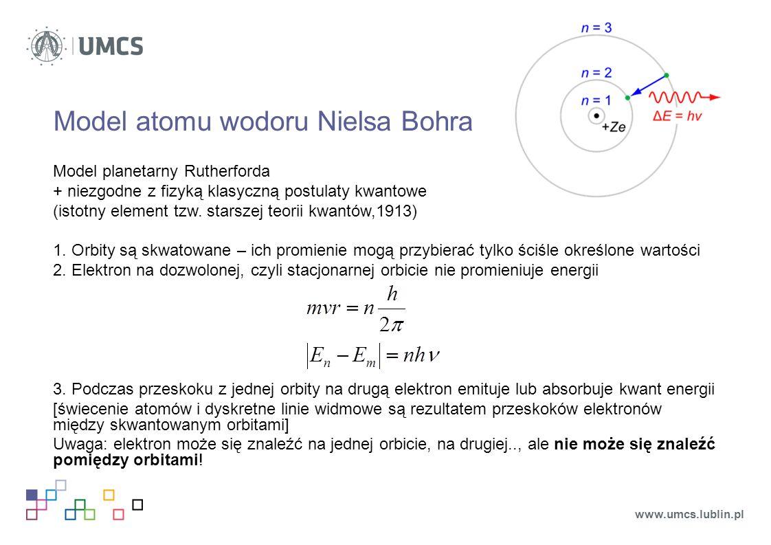 Model atomu wodoru Nielsa Bohra Model planetarny Rutherforda + niezgodne z fizyką klasyczną postulaty kwantowe (istotny element tzw.