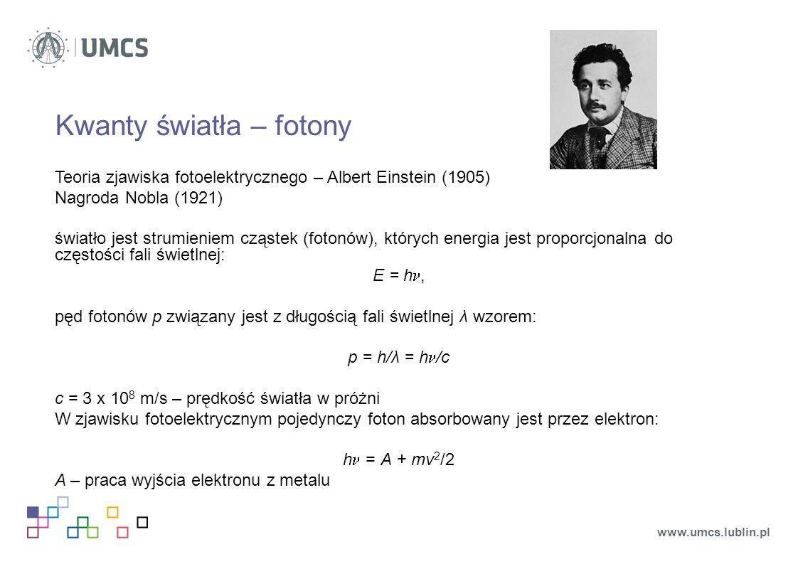 Kwanty światła – fotony Teoria zjawiska fotoelektrycznego – Albert Einstein (1905) Nagroda Nobla (1921) światło jest strumieniem cząstek (fotonów), których energia jest proporcjonalna do częstości fali świetlnej: E = h, pęd fotonów p związany jest z długością fali świetlnej λ wzorem: p = h/λ = h /c c = 3 x 10 8 m/s – prędkość światła w próżni W zjawisku fotoelektrycznym pojedynczy foton absorbowany jest przez elektron: h = A + mv 2 /2 A – praca wyjścia elektronu z metalu www.umcs.lublin.pl