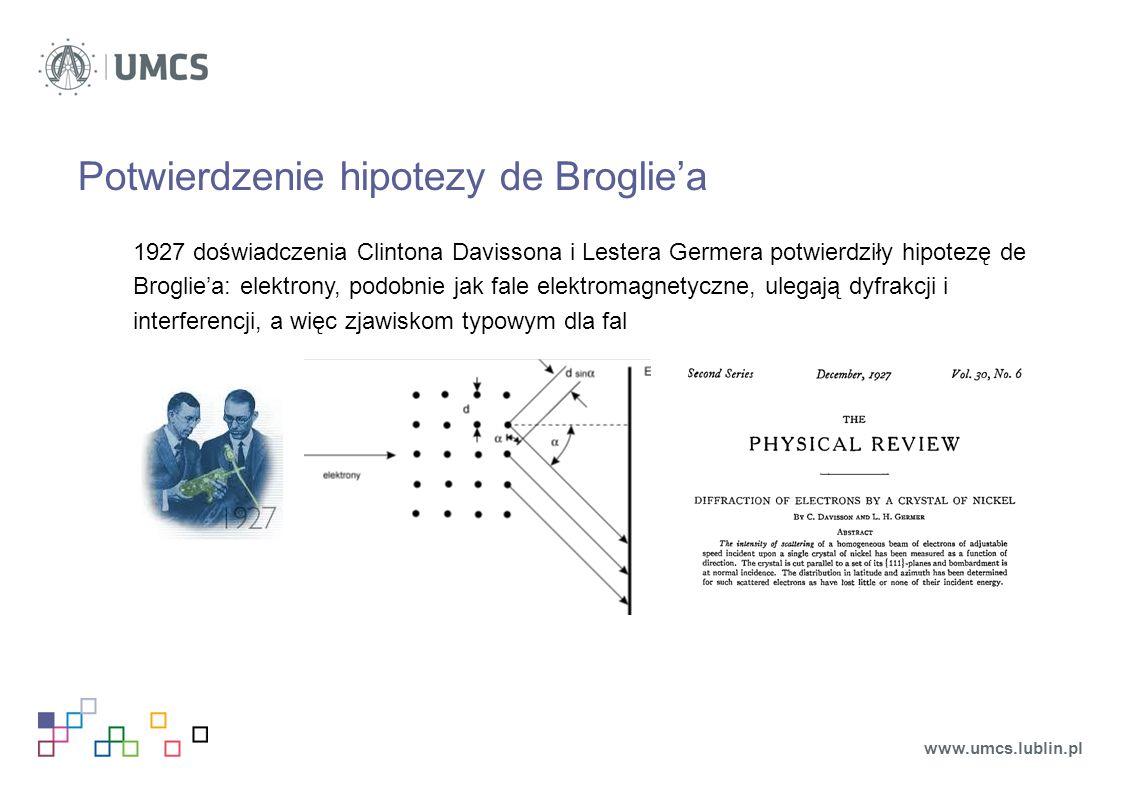 Potwierdzenie hipotezy de Broglie'a 1927 doświadczenia Clintona Davissona i Lestera Germera potwierdziły hipotezę de Broglie'a: elektrony, podobnie jak fale elektromagnetyczne, ulegają dyfrakcji i interferencji, a więc zjawiskom typowym dla fal www.umcs.lublin.pl