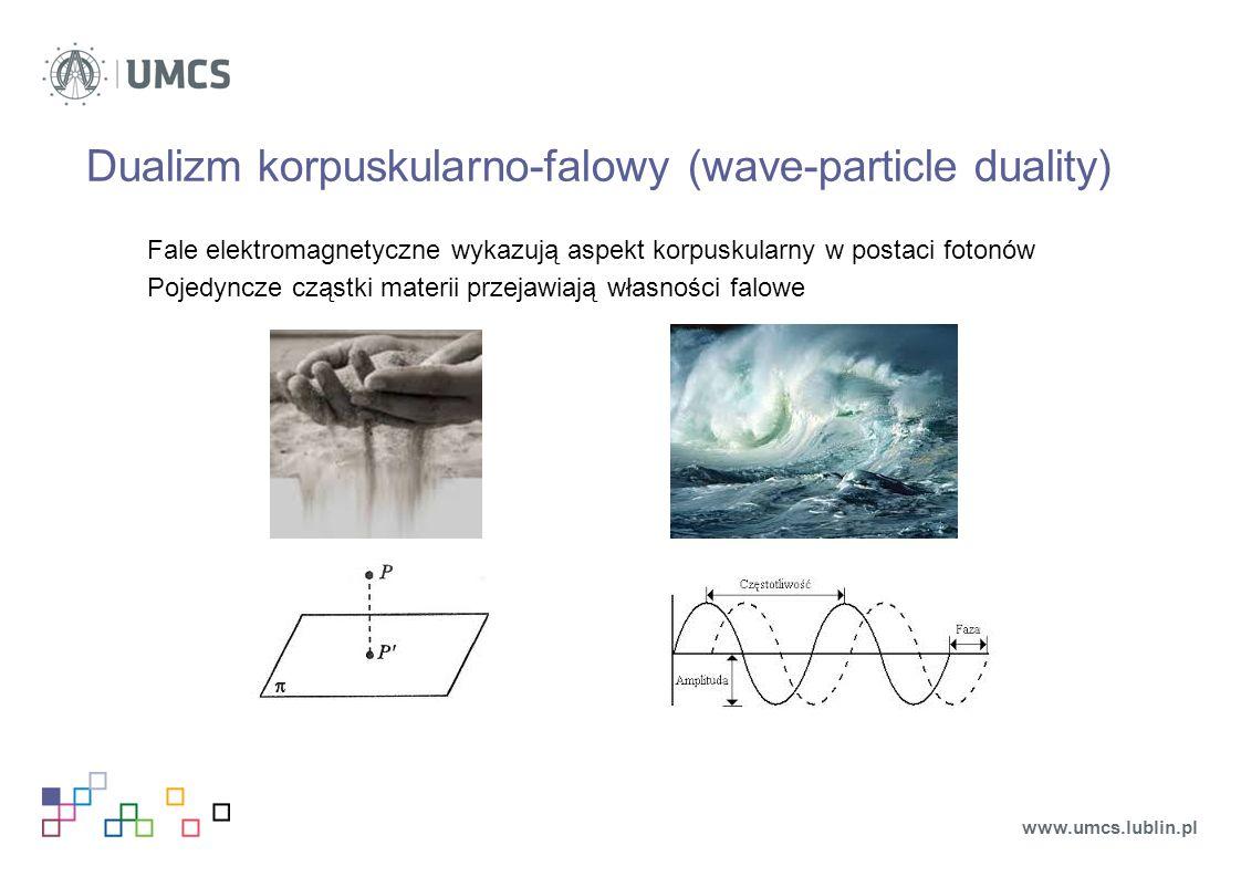 Dualizm korpuskularno-falowy (wave-particle duality) Fale elektromagnetyczne wykazują aspekt korpuskularny w postaci fotonów Pojedyncze cząstki materii przejawiają własności falowe www.umcs.lublin.pl
