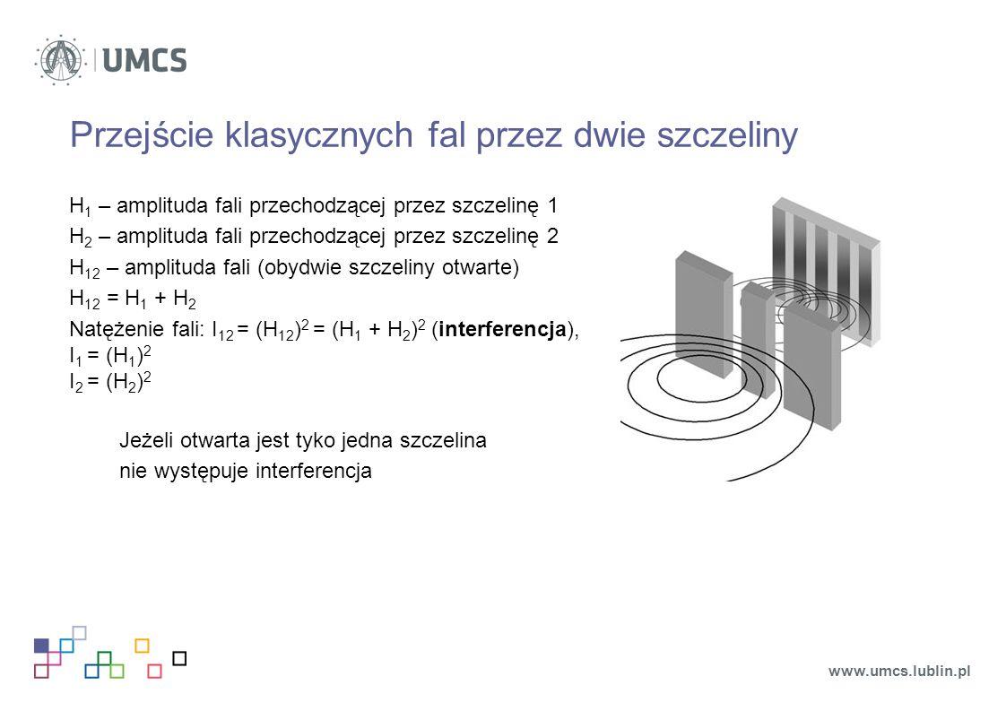 Przejście klasycznych fal przez dwie szczeliny H 1 – amplituda fali przechodzącej przez szczelinę 1 H 2 – amplituda fali przechodzącej przez szczelinę 2 H 12 – amplituda fali (obydwie szczeliny otwarte) H 12 = H 1 + H 2 Natężenie fali: I 12 = (H 12 ) 2 = (H 1 + H 2 ) 2 (interferencja), I 1 = (H 1 ) 2 I 2 = (H 2 ) 2 Jeżeli otwarta jest tyko jedna szczelina nie występuje interferencja www.umcs.lublin.pl