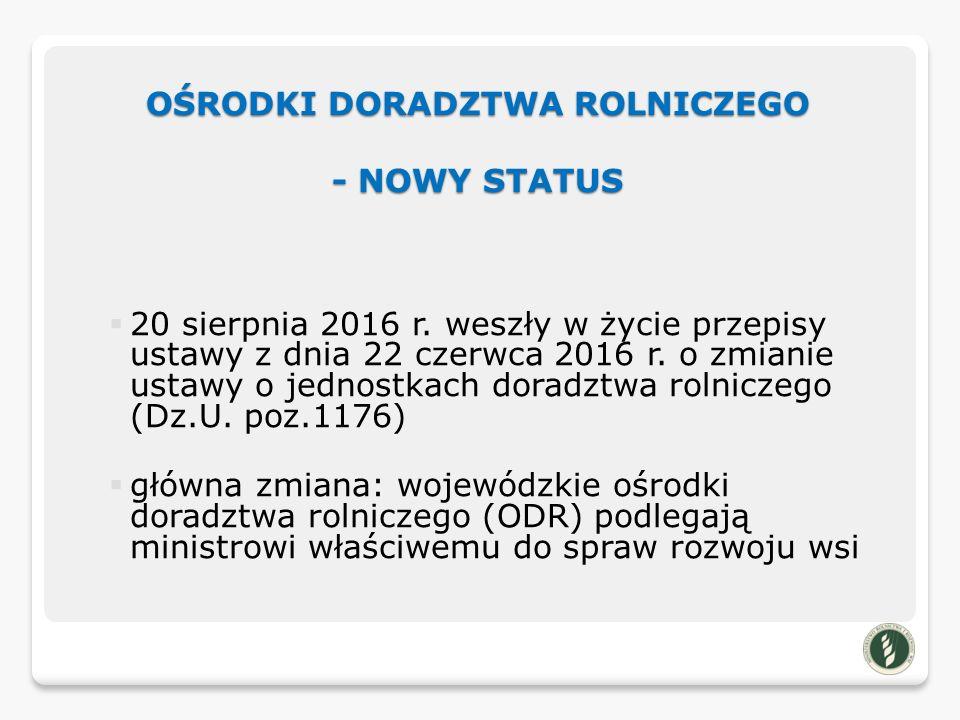 OŚRODKI DORADZTWA ROLNICZEGO - NOWY STATUS  20 sierpnia 2016 r.