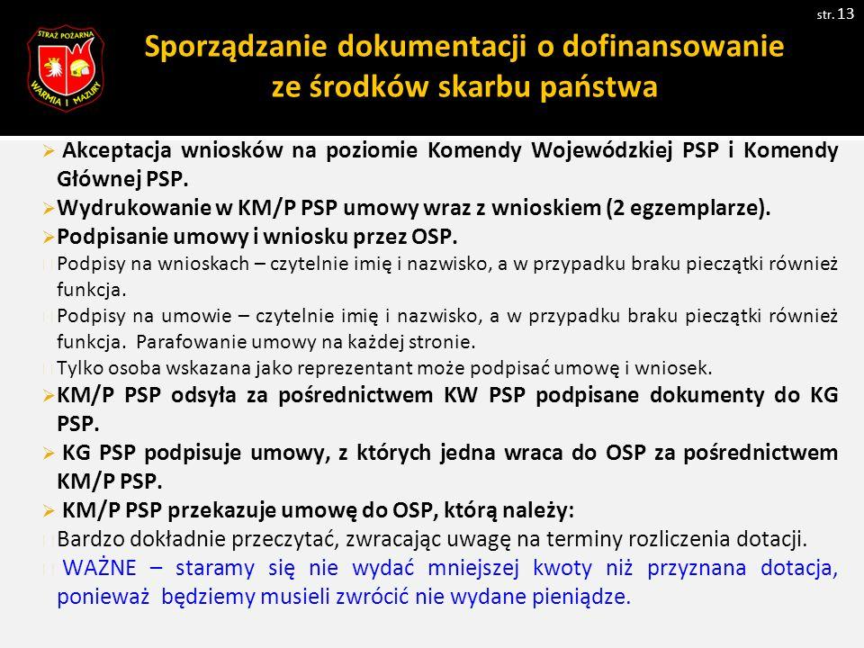 Sporządzanie dokumentacji o dofinansowanie ze środków skarbu państwa str. 13  Akceptacja wniosków na poziomie Komendy Wojewódzkiej PSP i Komendy Głów
