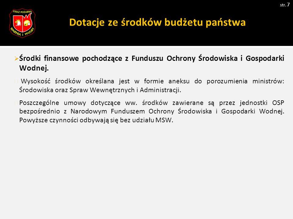 Dotacje ze środków budżetu państwa str.