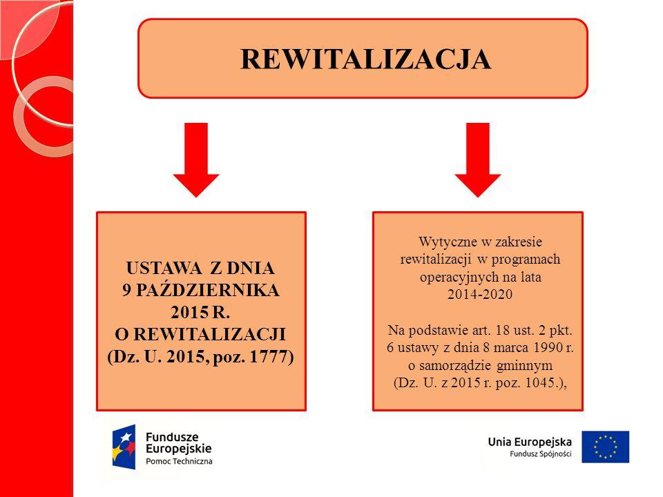 REWITALIZACJA USTAWA Z DNIA 9 PAŹDZIERNIKA 2015 R.