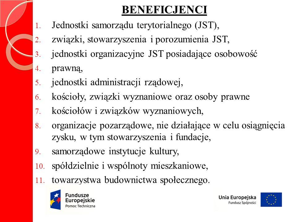 BENEFICJENCI 1.Jednostki samorządu terytorialnego (JST), 2.