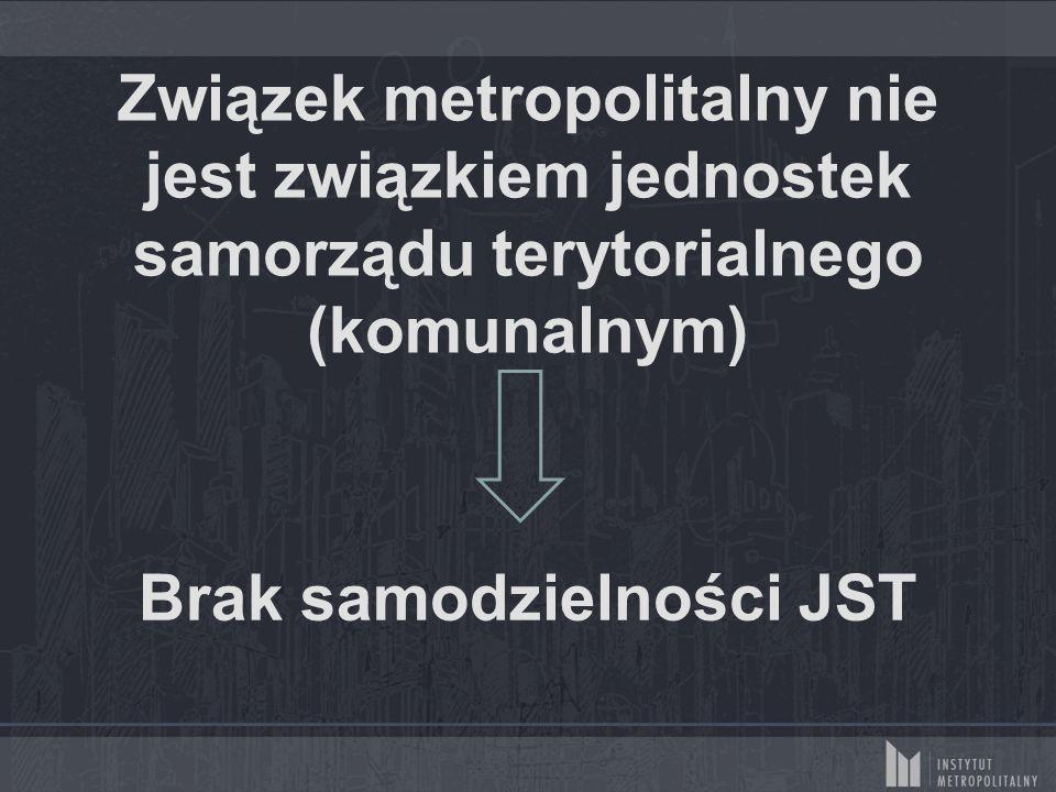 Związek metropolitalny nie jest związkiem jednostek samorządu terytorialnego (komunalnym) Brak samodzielności JST