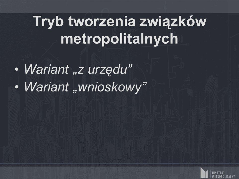 """Tryb tworzenia związków metropolitalnych Wariant """"z urzędu"""" Wariant """"wnioskowy"""""""