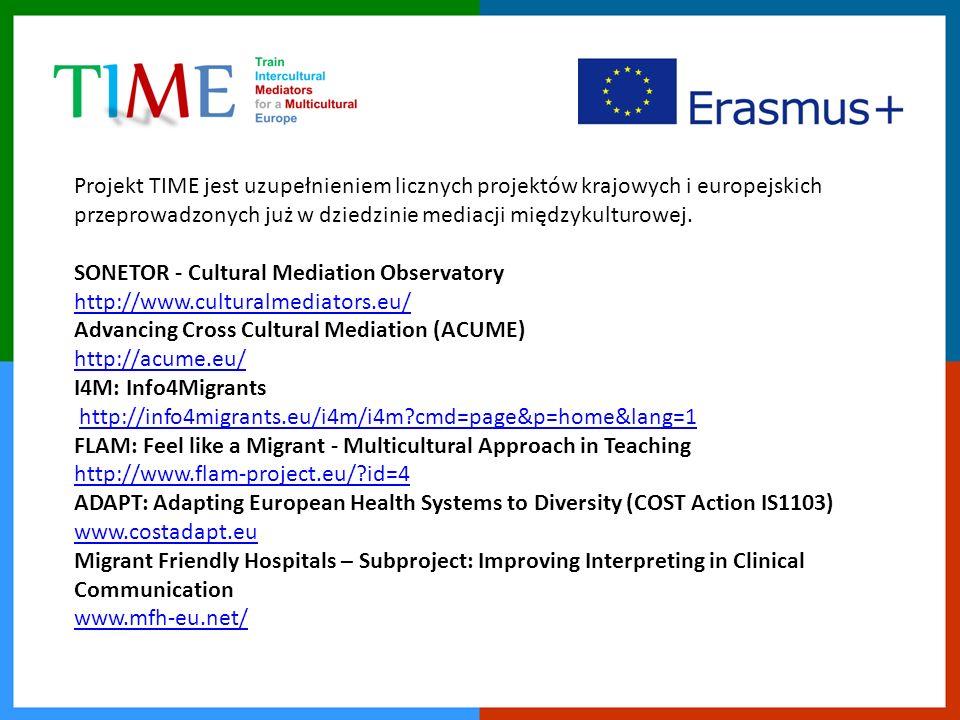 Projekt TIME jest uzupełnieniem licznych projektów krajowych i europejskich przeprowadzonych już w dziedzinie mediacji międzykulturowej.