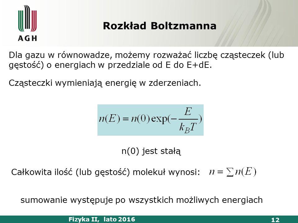 Fizyka II, lato 2016 12 Dla gazu w równowadze, możemy rozważać liczbę cząsteczek (lub gęstość) o energiach w przedziale od E do E+dE.