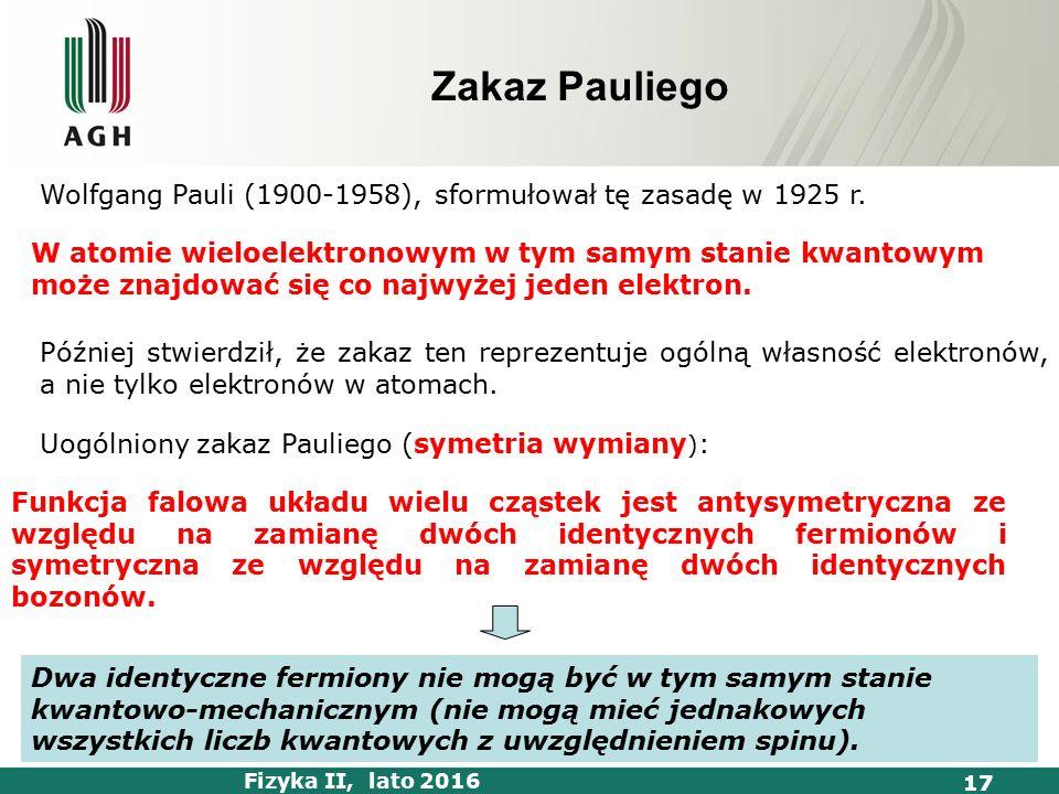 Fizyka II, lato 2016 17 Zakaz Pauliego W atomie wieloelektronowym w tym samym stanie kwantowym może znajdować się co najwyżej jeden elektron.