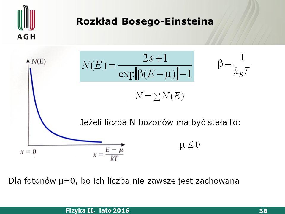 Fizyka II, lato 2016 38 Dla fotonów μ=0, bo ich liczba nie zawsze jest zachowana Jeżeli liczba N bozonów ma być stała to: Rozkład Bosego-Einsteina
