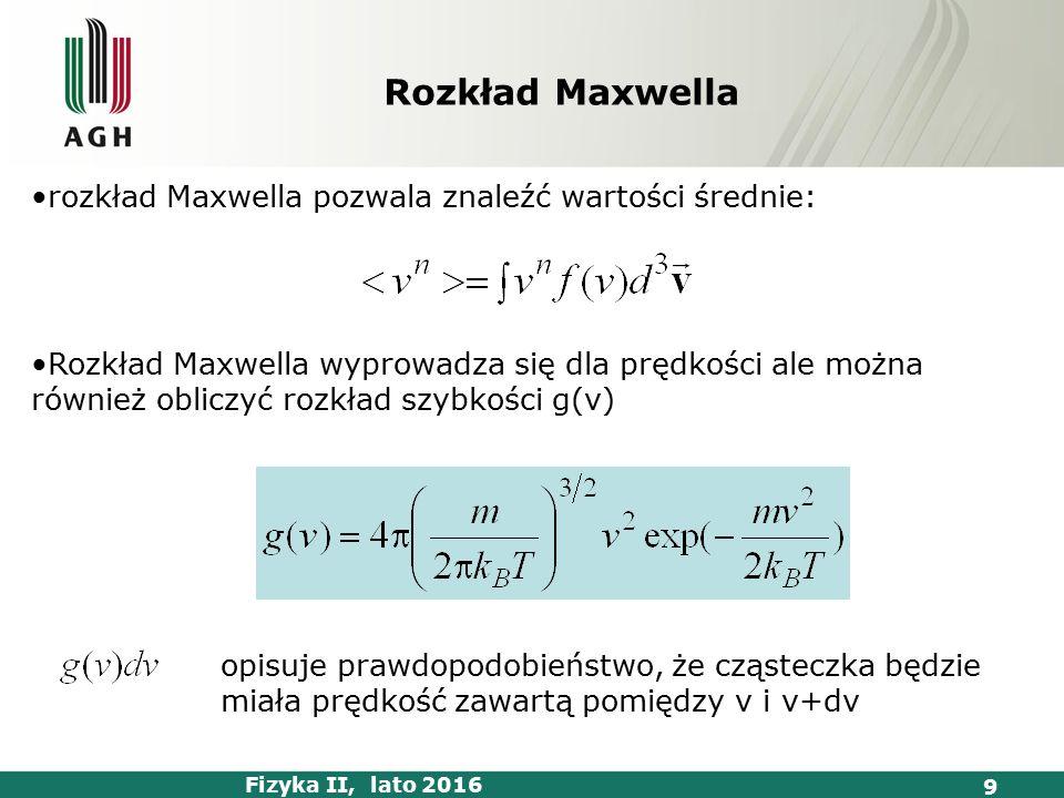 Fizyka II, lato 2016 9 rozkład Maxwella pozwala znaleźć wartości średnie: Rozkład Maxwella wyprowadza się dla prędkości ale można również obliczyć rozkład szybkości g(v) opisuje prawdopodobieństwo, że cząsteczka będzie miała prędkość zawartą pomiędzy v i v+dv Rozkład Maxwella