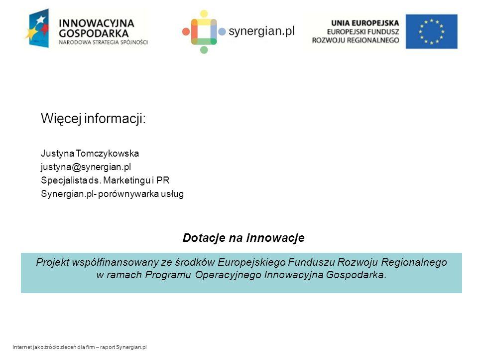 Internet jako źródło zleceń dla firm – raport Synergian.pl Więcej informacji: Justyna Tomczykowska justyna@synergian.pl Specjalista ds.