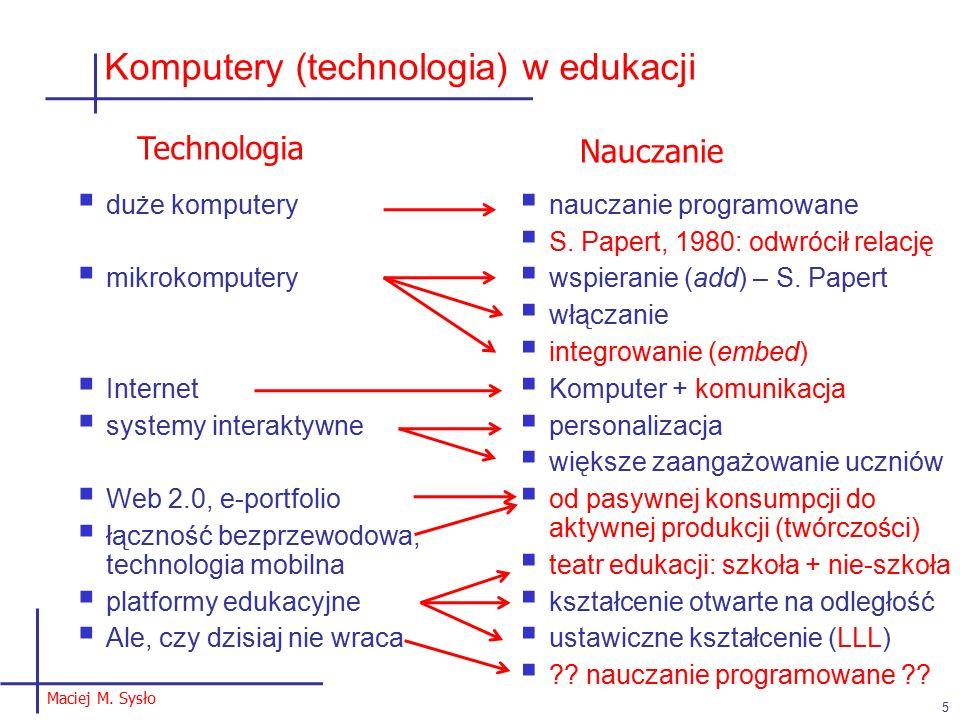 Komputery (technologia) w edukacji  duże komputery  mikrokomputery  Internet  systemy interaktywne  Web 2.0, e-portfolio  łączność bezprzewodowa, technologia mobilna  platformy edukacyjne  Ale, czy dzisiaj nie wraca  nauczanie programowane  S.