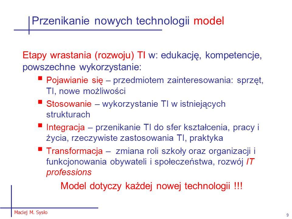 Przenikanie nowych technologii model Etapy wrastania (rozwoju) TI w: edukację, kompetencje, powszechne wykorzystanie:  Pojawianie się – przedmiotem zainteresowania: sprzęt, TI, nowe możliwości  Stosowanie – wykorzystanie TI w istniejących strukturach  Integracja – przenikanie TI do sfer kształcenia, pracy i życia, rzeczywiste zastosowania TI, praktyka  Transformacja – zmiana roli szkoły oraz organizacji i funkcjonowania obywateli i społeczeństwa, rozwój IT professions Model dotyczy każdej nowej technologii !!.
