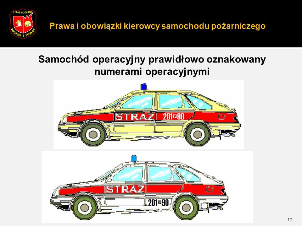 Prawa i obowiązki kierowcy samochodu pożarniczego 10 Samochód operacyjny prawidłowo oznakowany numerami operacyjnymi