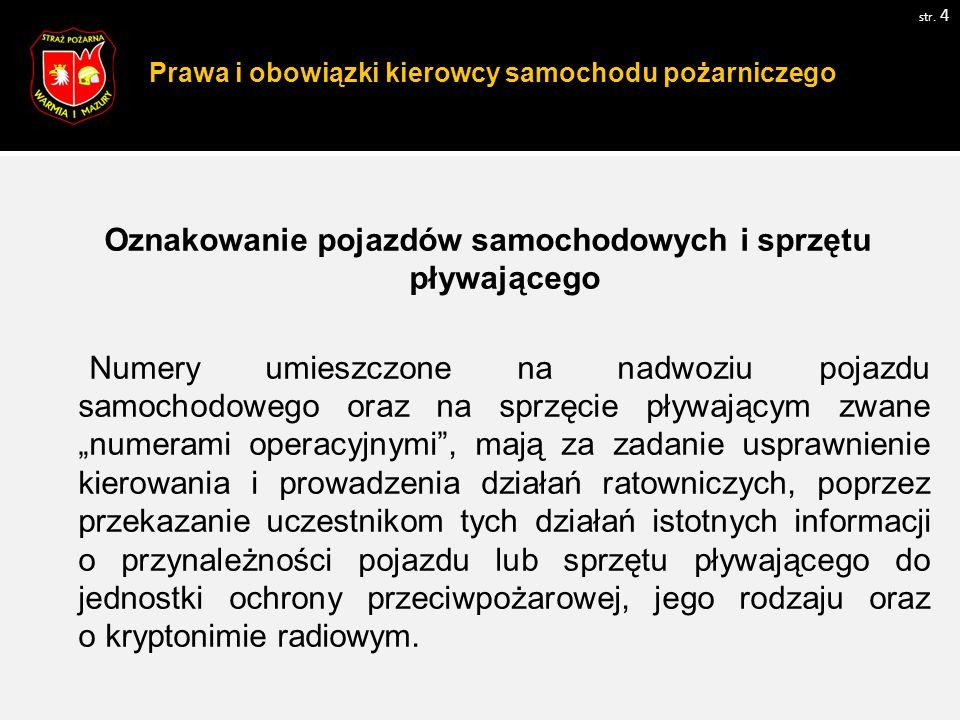 Prawa i obowiązki kierowcy samochodu pożarniczego str.
