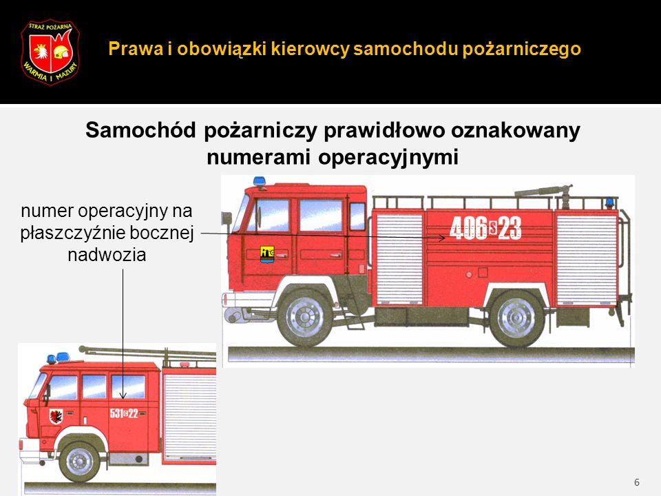 Prawa i obowiązki kierowcy samochodu pożarniczego 6 Samochód pożarniczy prawidłowo oznakowany numerami operacyjnymi numer operacyjny na płaszczyźnie bocznej nadwozia
