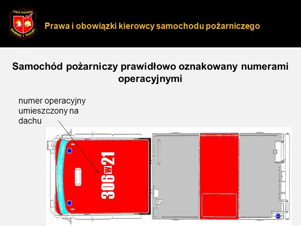 Prawa i obowiązki kierowcy samochodu pożarniczego 7 Samochód pożarniczy prawidłowo oznakowany numerami operacyjnymi numer operacyjny umieszczony na dachu