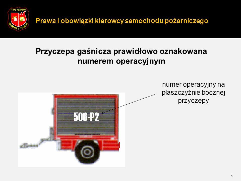 Prawa i obowiązki kierowcy samochodu pożarniczego 9 Przyczepa gaśnicza prawidłowo oznakowana numerem operacyjnym numer operacyjny na płaszczyźnie bocznej przyczepy