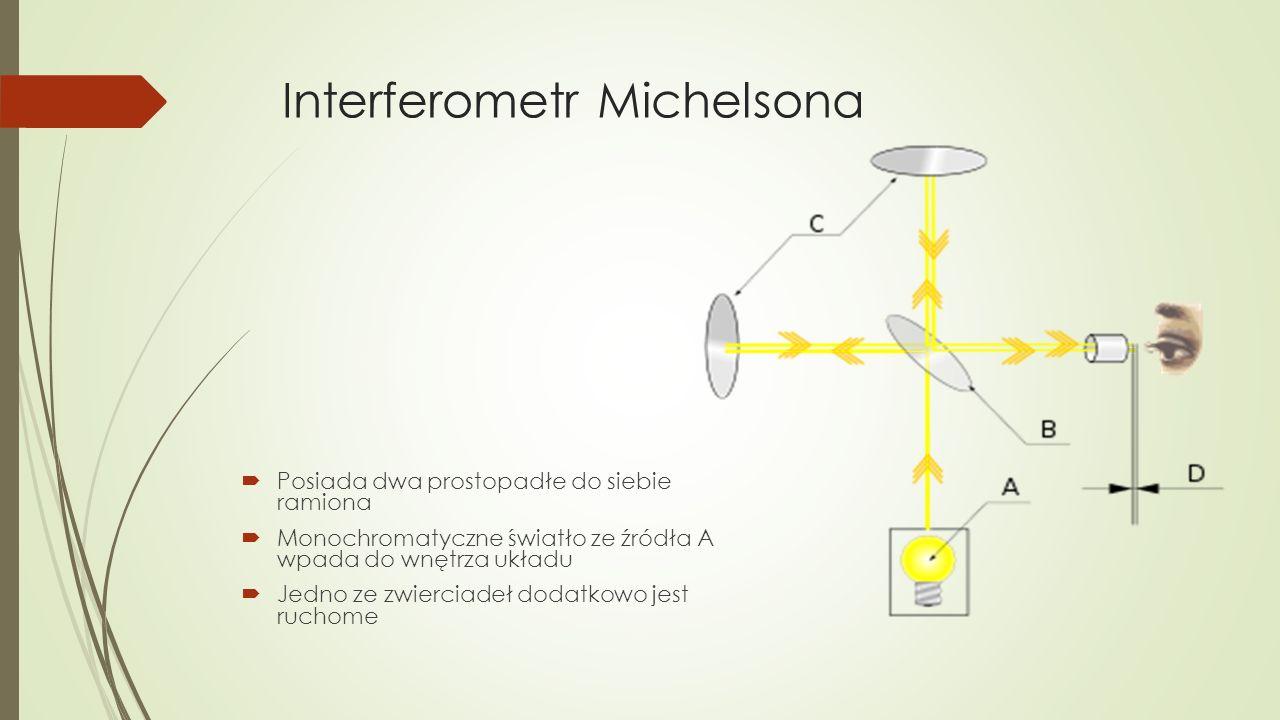 Interferometr Michelsona  Posiada dwa prostopadłe do siebie ramiona  Monochromatyczne światło ze źródła A wpada do wnętrza układu  Jedno ze zwierciadeł dodatkowo jest ruchome