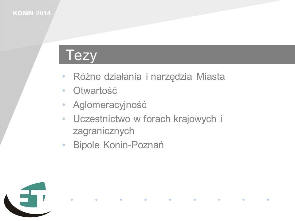 KONIN 2014 Tezy Różne działania i narzędzia Miasta Otwartość Aglomeracyjność Uczestnictwo w forach krajowych i zagranicznych Bipole Konin-Poznań