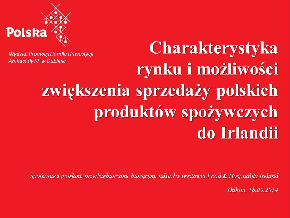 """12 Polski eksport produktów rolno- spożywczych do Irlandii Drugim najważniejszym rynkiem zbytu kukurydzy Czwartym najważniejszym rynkiem zbytu jęczmienia i makuchów Szóstym rynkiem zbytu """"polskiego piwa Siódmym rynkiem zbytu wędlin Irlandia jest dla Polski"""