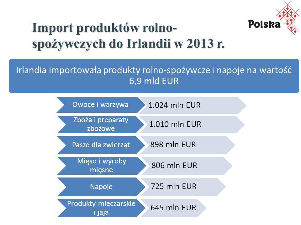 Import produktów rolno- spożywczych do Irlandii w 2013 r.