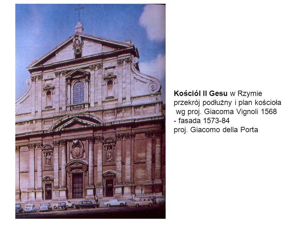 Kościól Il Gesu w Rzymie przekrój podłużny i plan kościoła wg proj.