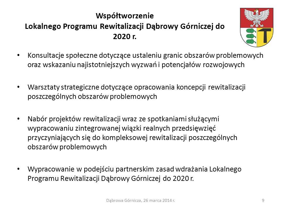 Współtworzenie Lokalnego Programu Rewitalizacji Dąbrowy Górniczej do 2020 r.
