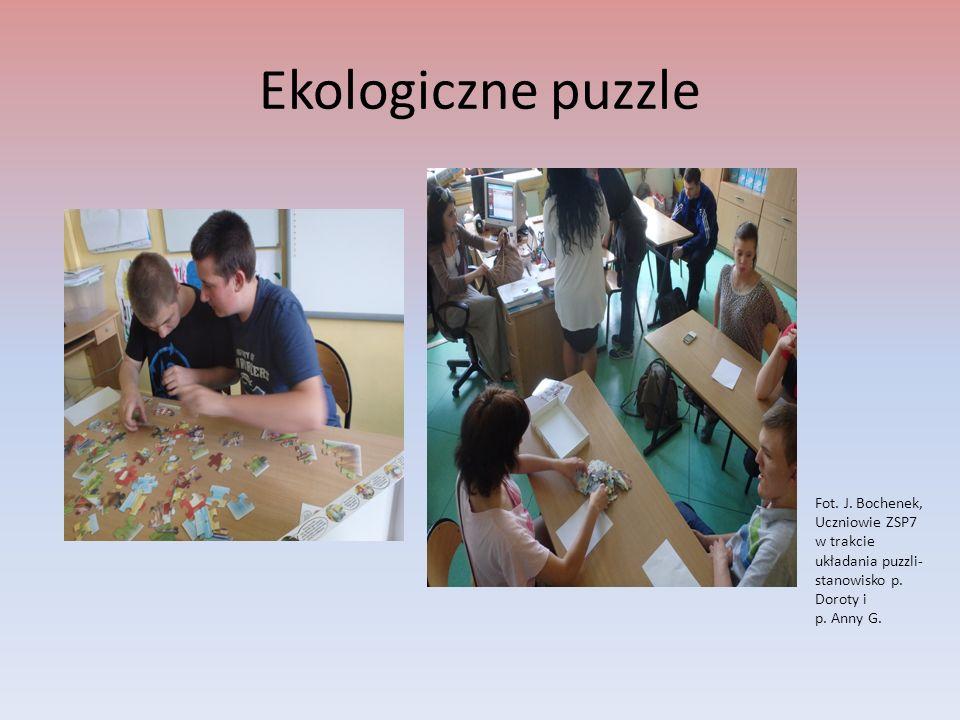 Ekologiczne puzzle Fot. J. Bochenek, Uczniowie ZSP7 w trakcie układania puzzli- stanowisko p. Doroty i p. Anny G.