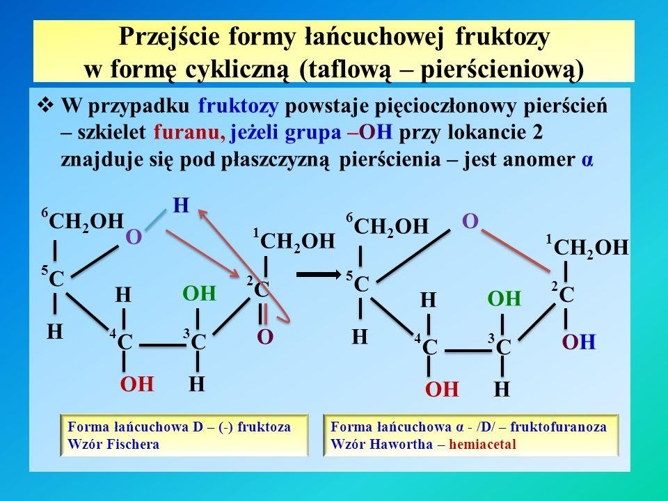 Przejście formy łańcuchowej fruktozy w formę cykliczną (taflową – pierścieniową)  W przypadku fruktozy powstaje pięcioczłonowy pierścień – szkielet furanu, jeżeli grupa –OH przy lokancie 2 znajduje się pod płaszczyzną pierścienia – jest anomer α 2C2C O 3C3C 1 CH 2 OH O 5C5C 6 CH 2 OH 4C4C H H H OH HO H O 3C3C 1 CH 2 OH OHOH 5C5C 6 CH 2 OH 4C4C H H H OH HO 2C2C Forma łańcuchowa D – (-) fruktoza Wzór Fischera Forma łańcuchowa α - /D/ – fruktofuranoza Wzór Hawortha – hemiacetal