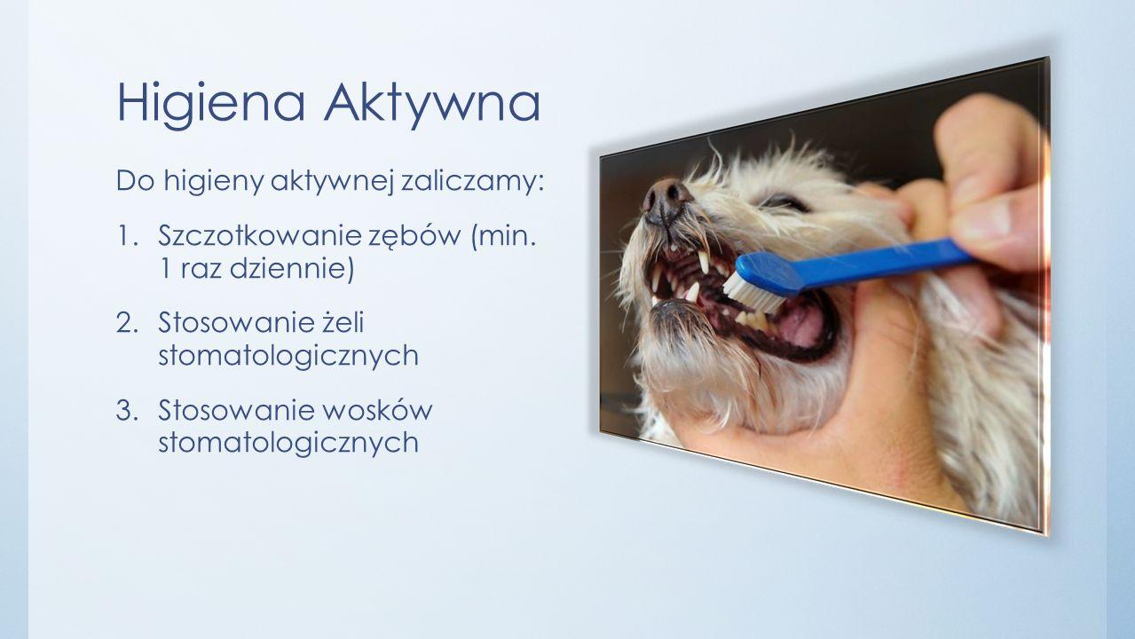 Higiena pasywna Do higieny pasywnej zaliczamy: 1.Żywienie psa karmą stomatologiczną 2.Stosowanie przekąsek stomatologicznych 3.Stosowanie Plaque off 4.Stosowanie dodatków do wody pitnej
