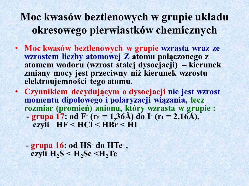 Moc kwasów beztlenowych w grupie układu okresowego pierwiastków chemicznych Moc kwasów beztlenowych w grupie wzrasta wraz ze wzrostem liczby atomowej Z atomu połączonego z atomem wodoru (wzrost stałej dysocjacji) – kierunek zmiany mocy jest przeciwny niż kierunek wzrostu elektroujemności tego atomu.