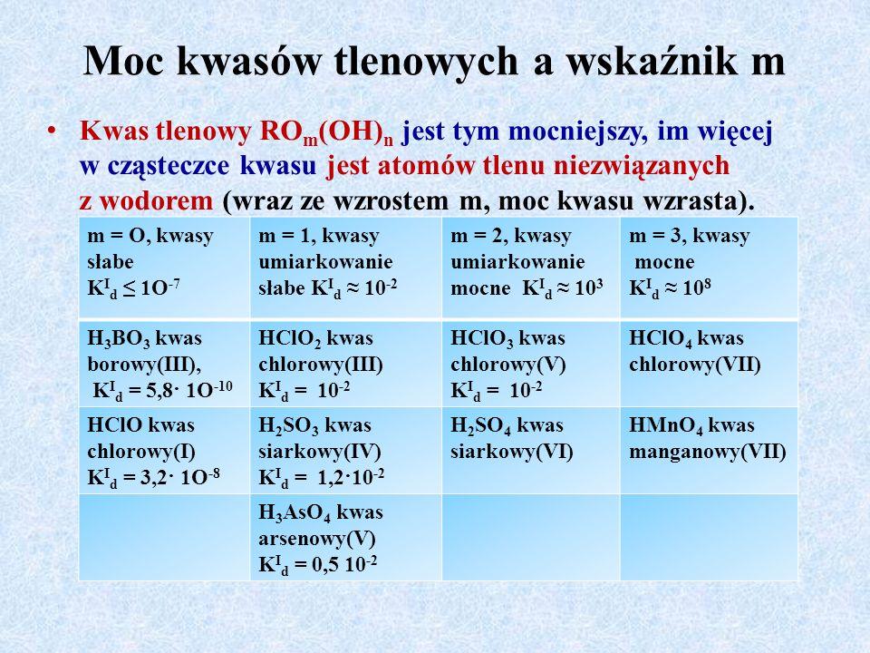 Moc kwasów tlenowych a wskaźnik m Kwas tlenowy RO m (OH) n jest tym mocniejszy, im więcej w cząsteczce kwasu jest atomów tlenu niezwiązanych z wodorem (wraz ze wzrostem m, moc kwasu wzrasta).