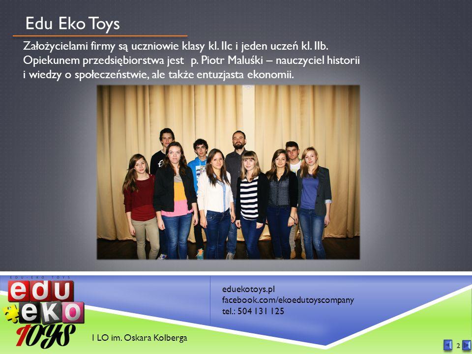 eduekotoys.pl facebook.com/ekoedutoyscompany tel.: 504 131 125 2 Edu Eko Toys Założycielami firmy są uczniowie klasy kl.