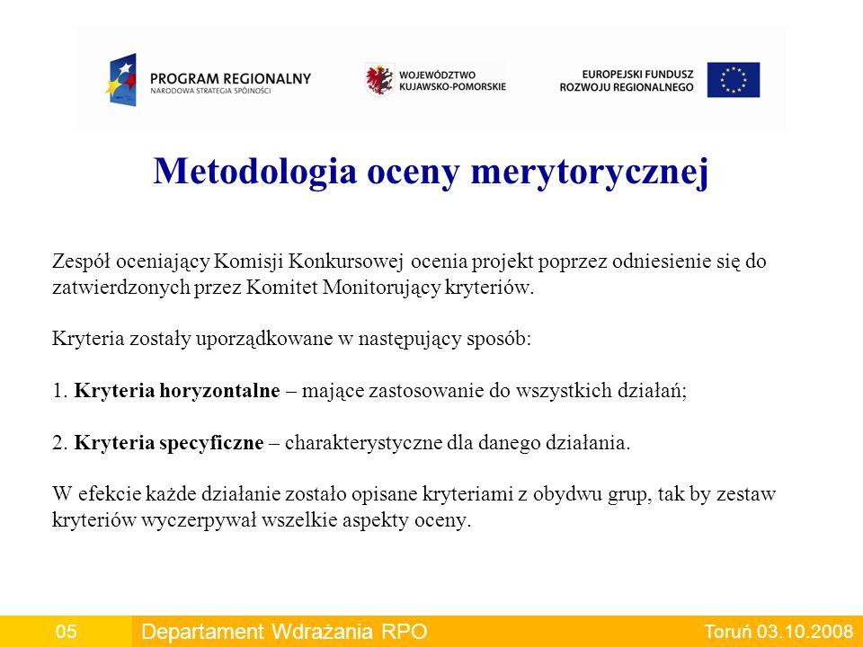 Metodologia oceny merytorycznej Zespół oceniający Komisji Konkursowej ocenia projekt poprzez odniesienie się do zatwierdzonych przez Komitet Monitoruj