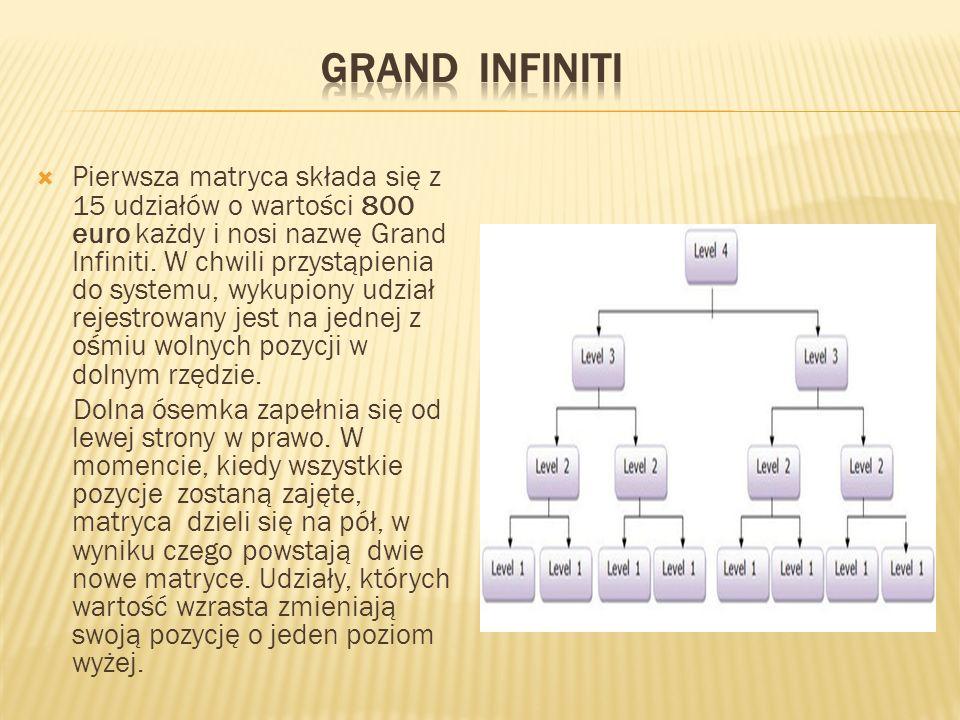  Pierwsza matryca składa się z 15 udziałów o wartości 800 euro każdy i nosi nazwę Grand Infiniti.