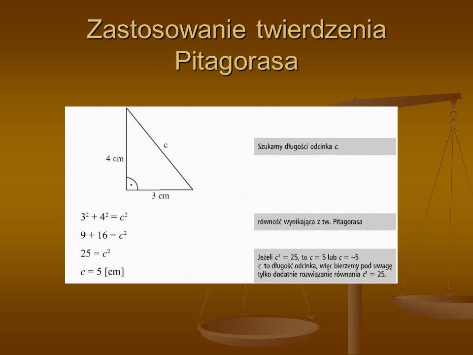 Zastosowanie twierdzenia Pitagorasa