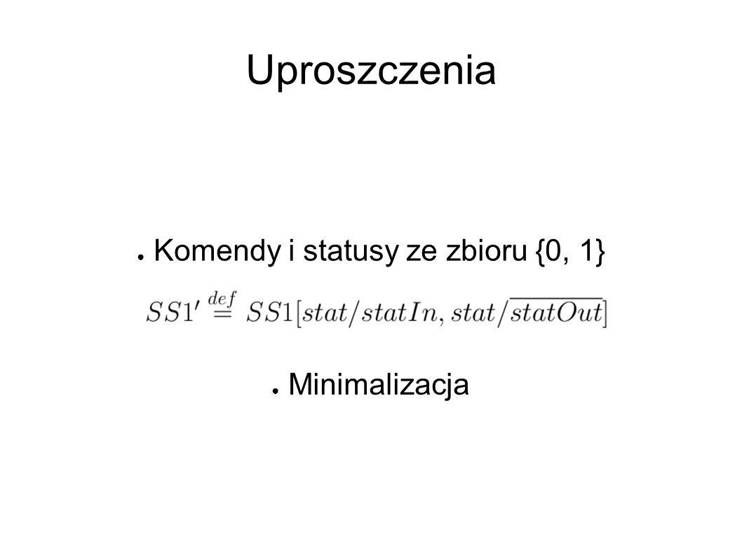 Uproszczenia ● Komendy i statusy ze zbioru {0, 1} ● ● Minimalizacja