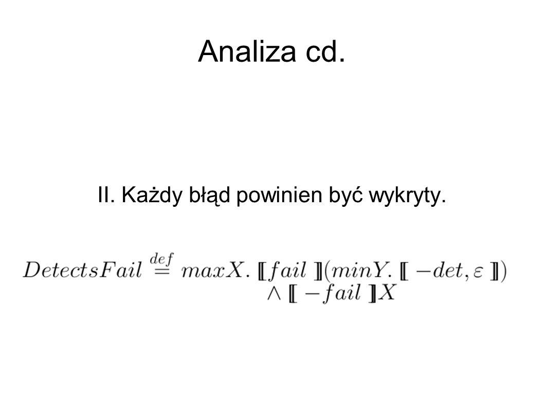Analiza cd. II. Każdy błąd powinien być wykryty.