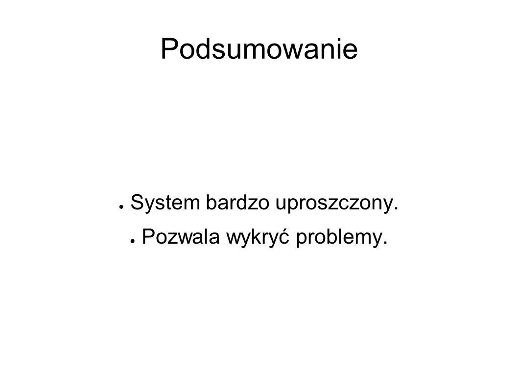 Podsumowanie ● System bardzo uproszczony. ● Pozwala wykryć problemy.