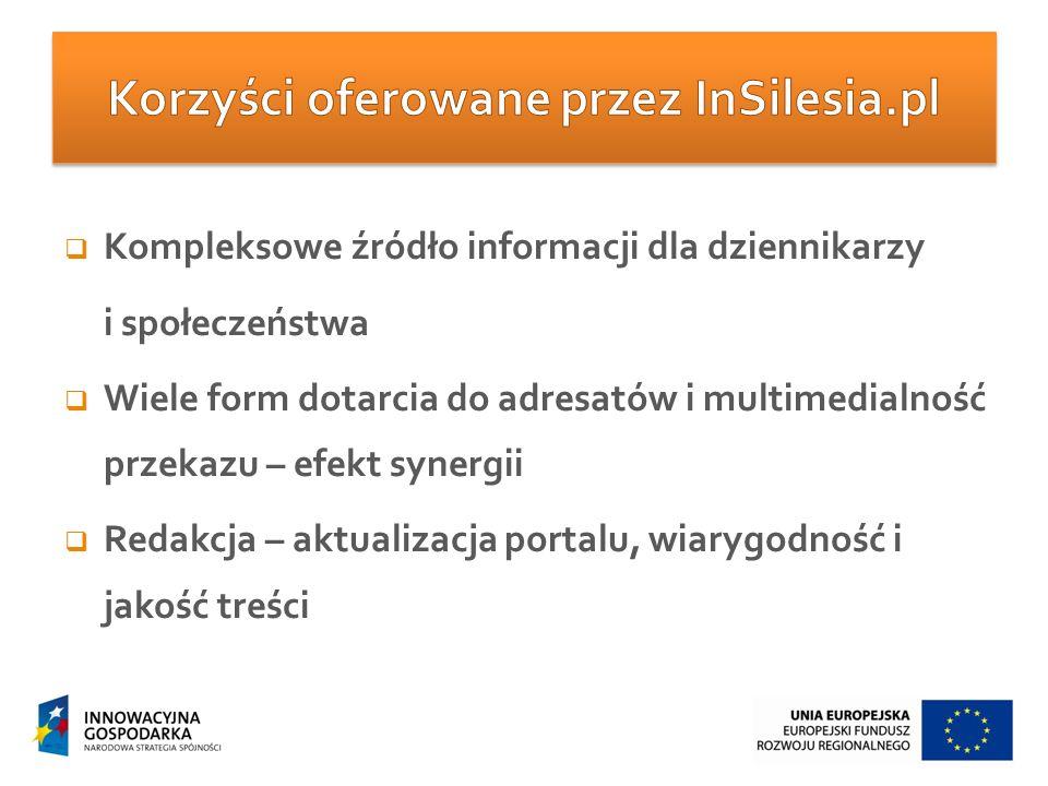  Kompleksowe źródło informacji dla dziennikarzy i społeczeństwa  Wiele form dotarcia do adresatów i multimedialność przekazu – efekt synergii  Redakcja – aktualizacja portalu, wiarygodność i jakość treści