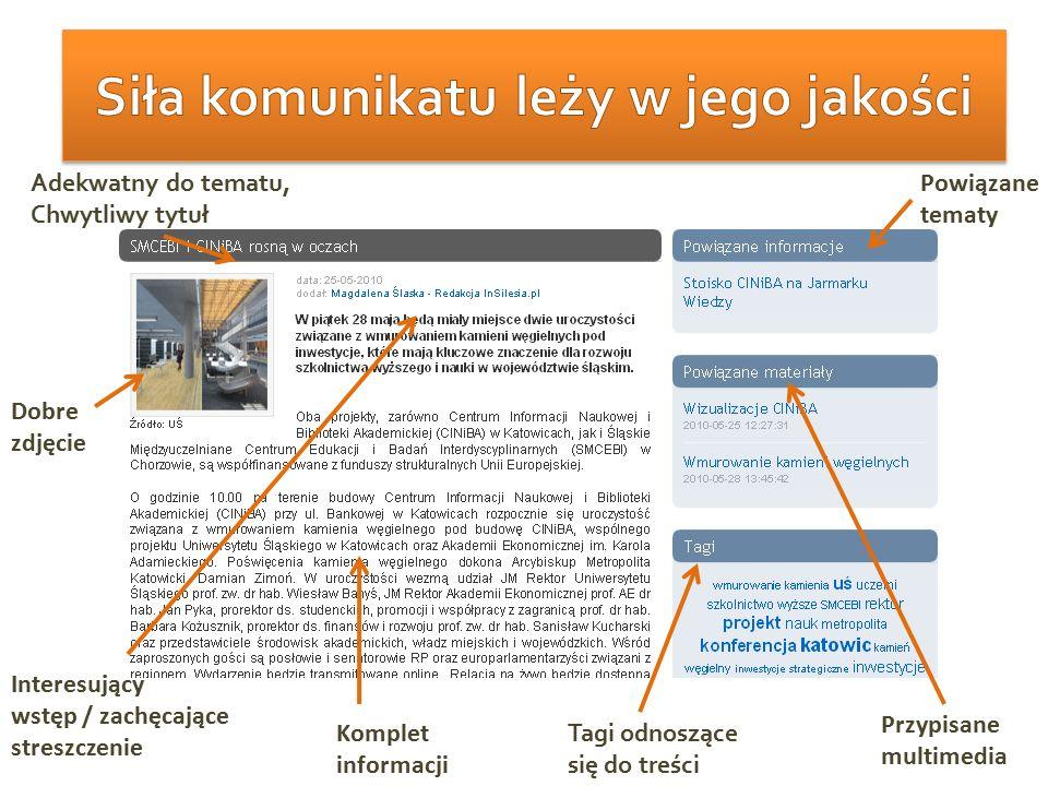 Dobre zdjęcie Przypisane multimedia Interesujący wstęp / zachęcające streszczenie Komplet informacji Tagi odnoszące się do treści Powiązane tematy Ade